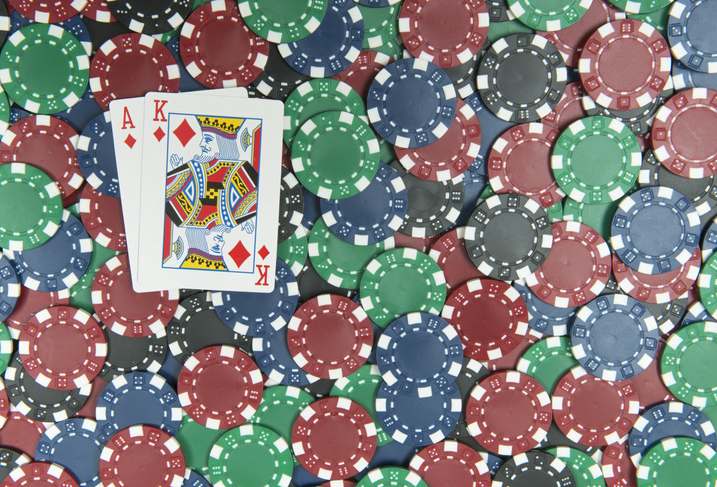 Poker Chips w/ Blackjack Ace & King of Diamonds