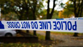 Police tape seen around the crime scene in London...