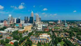 Aerial view of Uptown Downtown Charlotte North Carolina