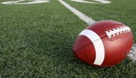 Close-Up Of American Football On Field